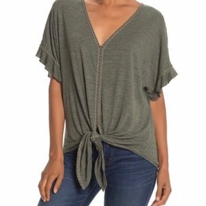 Max Studio V-neck Embroided Tie Front Top sz.S